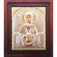 Icoana Maica Domnului Znamenie, Argintata 20 / 16.5 cm