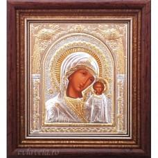 Icoana Maica Domnului de la Kazan , Argintata / Aurita 15.5 / 17 cm