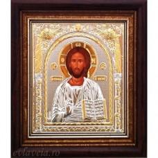 Icoana Domnul Nostru Iisus Hristos, Argintata / Aurita 15.5 / 17 cm
