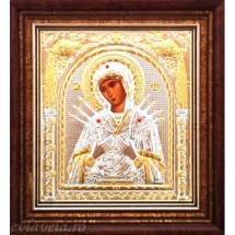 Icoana Maica Domnului 7 Sageti, Argintata / Aurita 15.5 / 17 cm