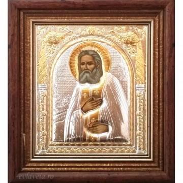 Icoana Sfantul Serafim de Sarov, Argintata / Aurita 15.5 / 17 cm