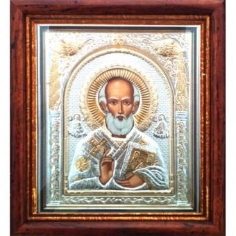 Icoana Sfantul Ierarh Nicolae, Argintata / Aurita 23 / 25 cm