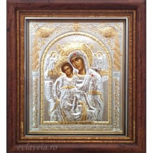 Icoana Maica Domnului Axionita, Argintata / Aurita 23 / 25 cm
