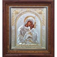 Icoana Maica Domnului Dulcea Sarutare, Argintata / Aurita 23 / 25 cm