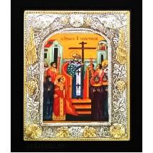 Icoana Inaltarea Sfintei Cruci, Argintata 19 / 24 cm