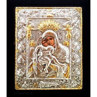 E4 - Icoana Maica Domnului Axionita, Argintata 19 / 24 cm