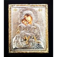 Icoana Maica Domnului cu Pruncul, Argintata 19 / 24 cm