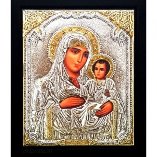 Icoana Maica Domnului de la Ierusalim, Argintata 19 / 24 cm