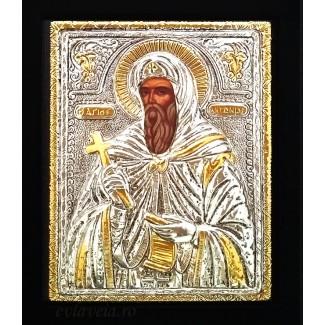 C1 - Icoana Sfantul Antonie cel Mare, Argintata 19 / 24 cm