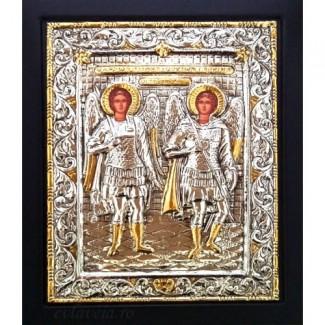 C6 - Icoana Sfintii Arhangheli Mihail si Gavriil, Argintata 19 / 24 cm