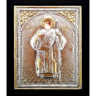 D7 - Icoana Sfantul Nectarie, Argintata 19 / 24 cm