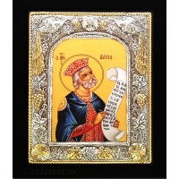 Icoana Sfantul Prooroc David, Argintata 19 / 24 cm