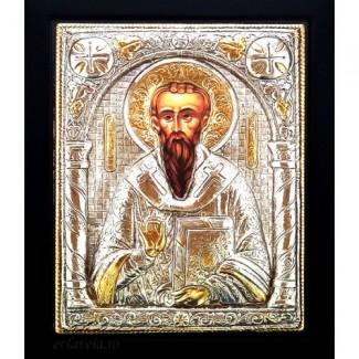 C8 - Icoana Sfantul Vasile cel Mare, Argintata 19 / 24 cm