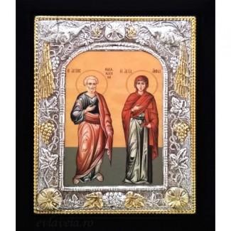 Icoana Sfintii Parinti Ioachim si Ana, Argintata 19 / 24 cm