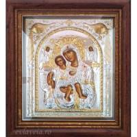 Icoana Maica Domnului Axionita, Argintata / Aurita 32 / 28 cm