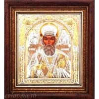Icoana Sfantul Ierarh Nicolae, Argintata / Aurita 32 / 28 cm