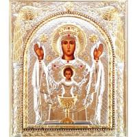 Icoana Maica Domnului Potirul Nesecat, Argintata 15.5 / 18 cm