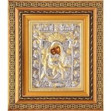 Icoana Maica Domnului Axionita, Argintata 32 / 38 cm