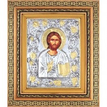 Icoana Iisus Hristos, Argintata 32 / 38 cm