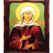 Icoana Sfanta Cuvioasa Xenia din Sankt Petersburg 16 /21 cm, Pirogravura