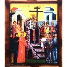 Icoana Inaltarea Sfintei Cruci 16 /21 cm, Pirogravura