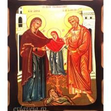 Icoana Sfintii si Dreptii Părinti Ioachim si Ana 16 /21 cm, Pirogravura
