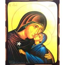 Icoana Maica Domnului Dulcea Sarutare 16 /21 cm, Pirogravura