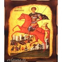 Icoana Sfantul Mucenic Dimitrie 16 /21 cm, Pirogravura