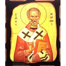 Icoana Sfantul Ierarh Nicolae 16 /21 cm, Pirogravura