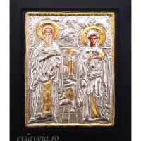 Icoana Lemn / Metal Sfintii Ciprian si Sfanta Iustina 19 / 24 cm