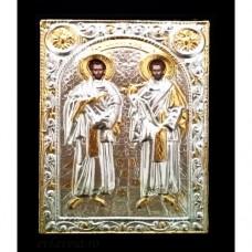 Icoana Lemn / Metal Sfintii Cosma si Damian 19 / 24 cm