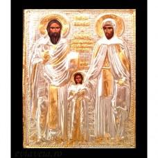 Icoana Lemn / Metal Sfintii Rafail, Irina si Nicolae 19 / 24 cm