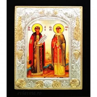 Icoana Lemn / Metal Sfintii Petru si Fevronia