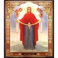 Icoana Acoperamantul Maicii Domnului, litografie 20.5 / 24.5 cm
