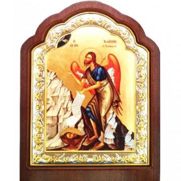 Icoana Sfantul Ioan Botezatorul, pictata, argintata 20 / 27 cm
