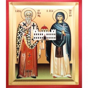 Icoana Sfintii Ciprian si Iustina, pictata 19 / 25 cm