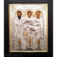 Icoana Lemn / Metal 19 / 24 cm Sfintii Trei Ierarhi
